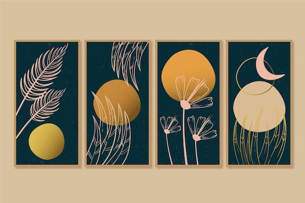골드 식물 표지 컬렉션 템플릿