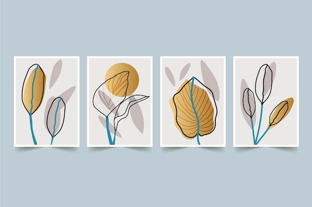 Modello di raccolta copertina botanica oro