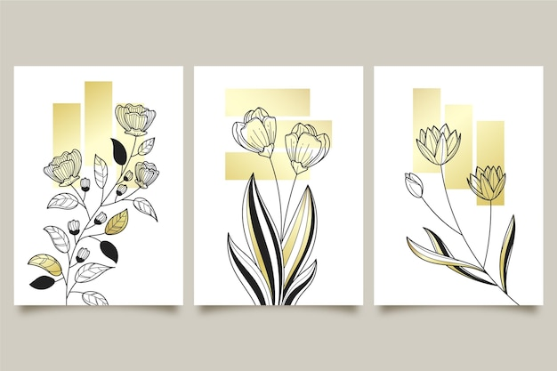 Gold botanical three covers collection