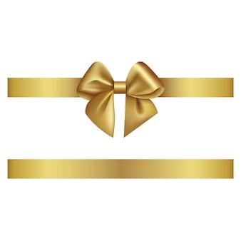Золотой бант и лента Premium векторы