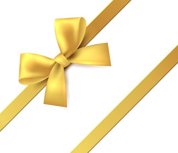 Золотой бант подарок представляет золотую блестящую ленту вектор изолировать ленту для дизайна приветствия и скидки