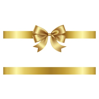 Gold bow and ribbon vector bow with ribbon for christmas and birthday decorations