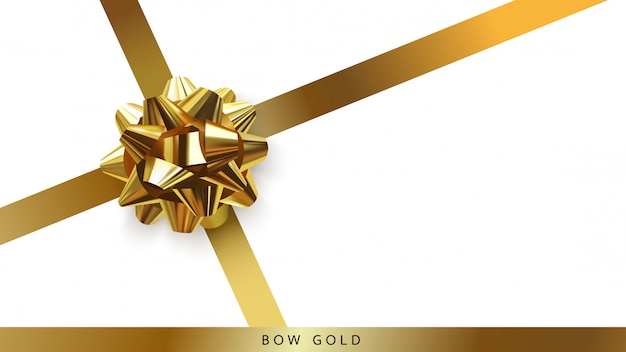 Gold bow star top view isolated on white background.