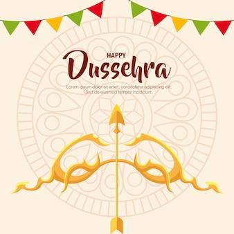 만다라 배경 디자인, 해피 dussehra 축제 및 인도 테마에 화살표와 배너 페넌트가있는 골드 활