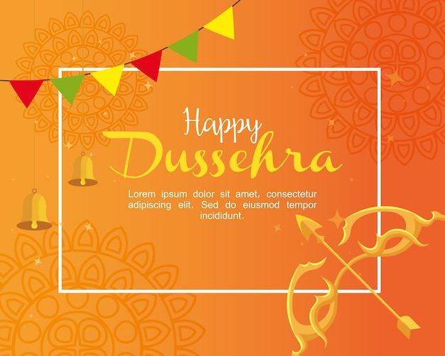 Gold bow with arrow and bells on orange with mandalas background design, happy dussehra festival and indian theme
