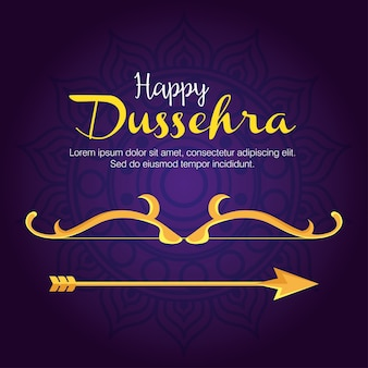 Gold bow with arrow on blue with mandala background design, happy dussehra festival and indian theme