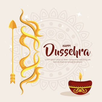 Gold bow with arrow and candle on mandala background design, happy dussehra festival and indian theme