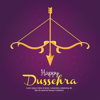 Gold bow with arrow on purple with mandalas background design, happy dussehra festival and indian theme