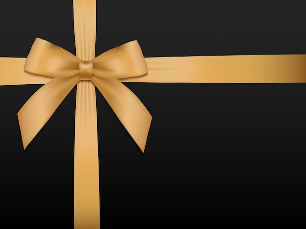 Gold bow with ribbons.gift card template