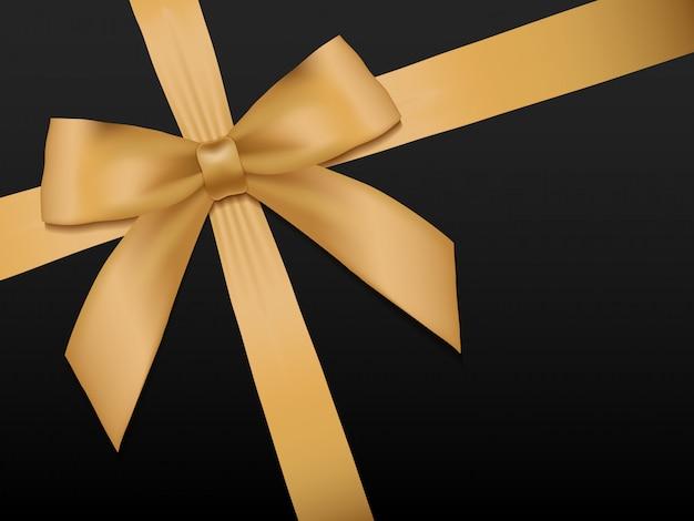 リボンとゴールドの弓。黒の背景イラストを光沢のある休日ゴールドサテンリボン。