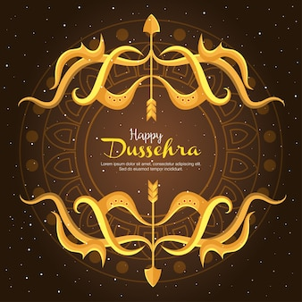 Gold bows with arrows on brown with mandala background design, happy dussehra festival and indian theme