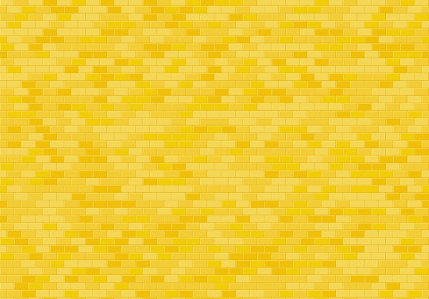 Gold brick wall background, yellow bricks texture seamless pattern vector.