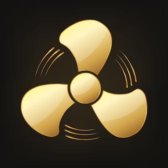 Золотой яркий вентилятор значок иллюстрации