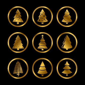 Золотой яркий силуэт елки стилизованные иконки на черном