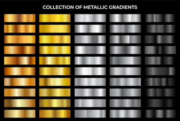Gold, bronze, silver and black texture gradation background set. collection of metallic gradients.