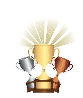 Gold bronze and silver trophies over white background vector