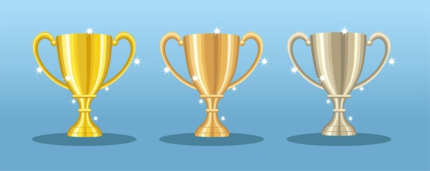 Gold bronze and silver trophy graphic flat vector illustration
