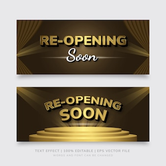 Gold and brown premium re-opening soon banner template eps text effect