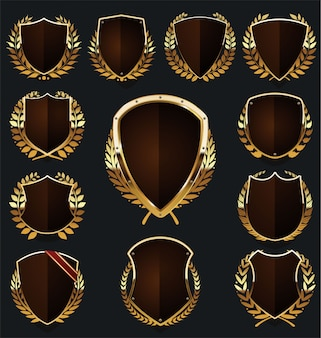 Gold and brown shield and laurel wreath collection