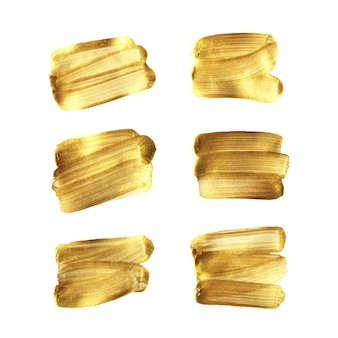 Gold brush hand painted set isolated