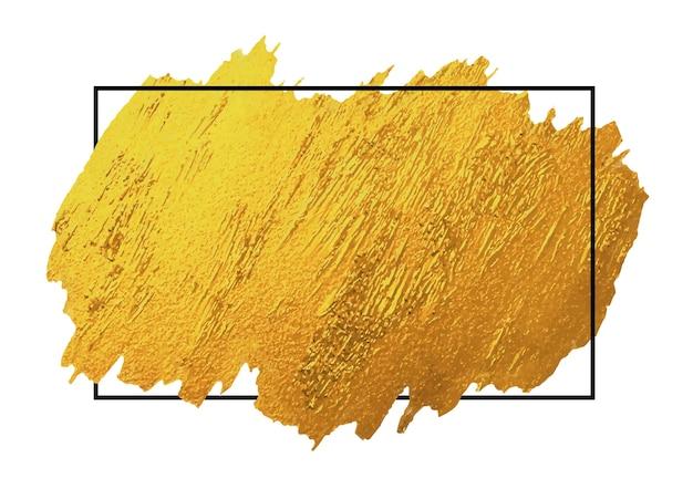 Gold brush stoke texture on white background with black line frame