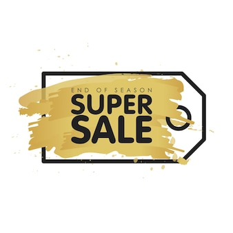 Gold brush tag abstract background vector illustration. super sale concept. end of season.