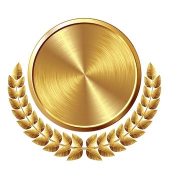 Золотая матовая медаль с венком