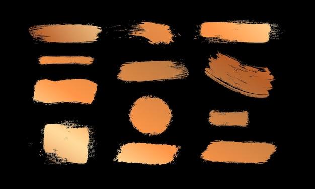 ゴールドブラシテクスチャをペイントデザイングラフィティストロークイエロースミアブラシ