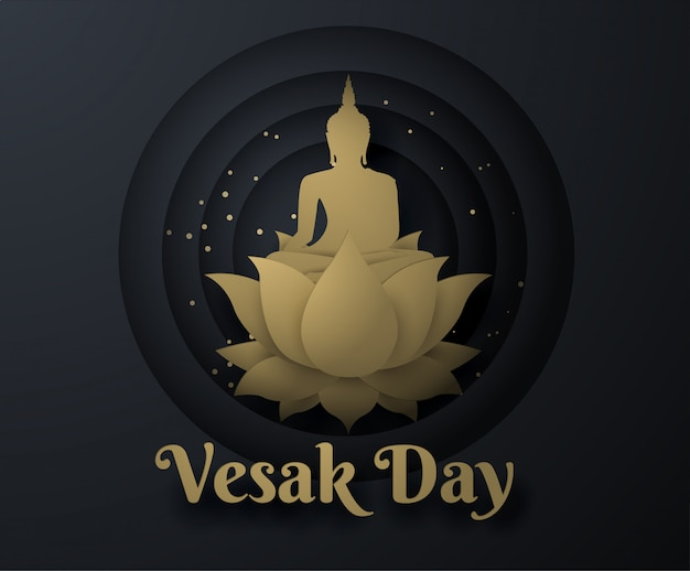 Gold buddha on lotus happy vesak day background