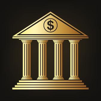 Золотое здание банка значок иллюстрации