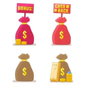 Золотые слитки, стопка монет, бриллиант и денежный мешок. капитал, банковское дело, инвестиционная концепция.