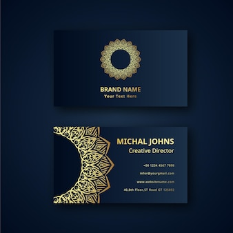 Gold business cards with flower oriental mandala