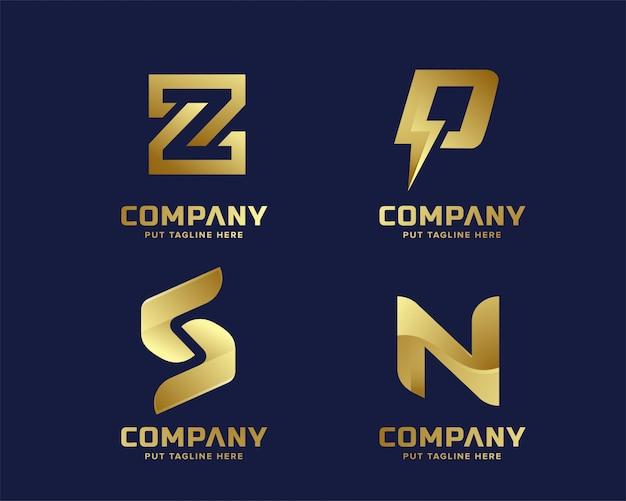 ゴールドビジネスの豪華さとエレガントなinitailの文字ロゴのテンプレート