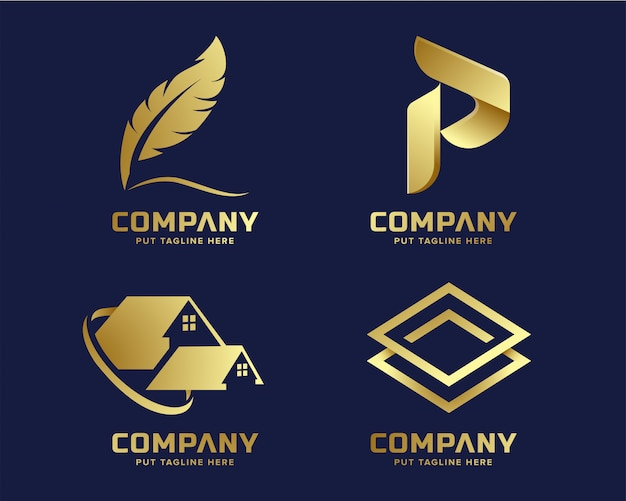 Gold business luxury and elegant logo template with abstract shape