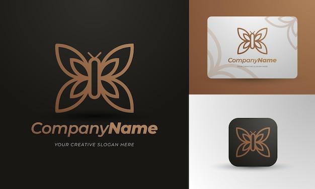 Дизайн логотипа золотая бабочка с визитной карточкой