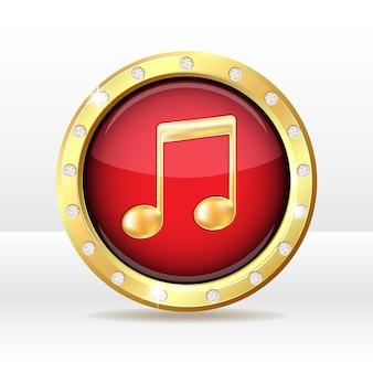 Золотая кнопка со знаком музыкальной ноты. значок музыки. иллюстрация