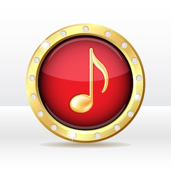 Gold button with musical note sign. music icon.