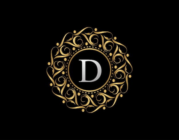 Gold calligraphic badge with letter d . ornamental luxury golden logo   .