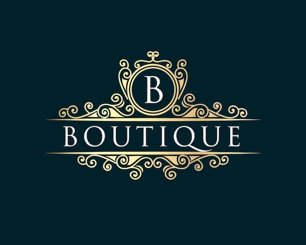 ゴールド書道フェミニンな花の手描きの紋章モノグラムアンティークビンテージスタイルの高級ロゴデザインホテルレストランカフェコーヒーショップスパビューティーサロン高級ブティック化粧品