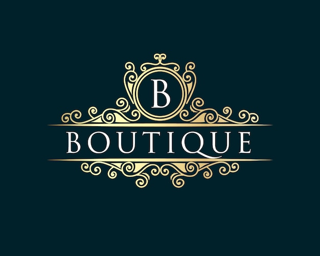 Gold calligraphic feminine floral hand drawn heraldic monogram antique vintage style luxury logo design suitable for hotel restaurant cafe coffee shop spa beauty salon luxury boutique cosmetic