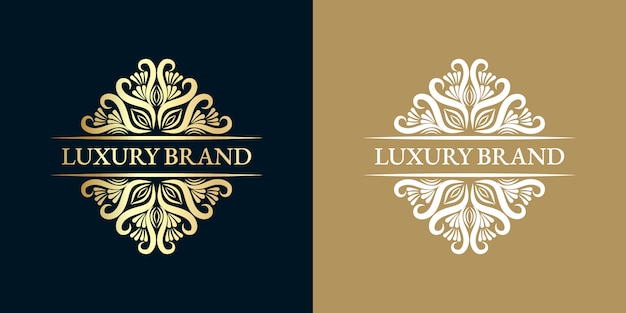 Gold calligraphic feminine floral hand drawn heraldic monogram antique vintage style luxury logo design