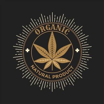 Gold cannabis leaf sign illustration
