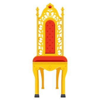 Gold carved throne for the emperor. chair in classic style. flat vector illustration.