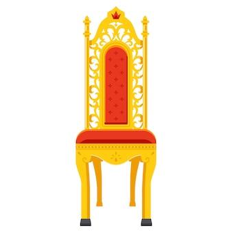 황제를 위한 금으로 조각된 왕좌. 고전적인 스타일의 의자. 평면 벡터 일러스트 레이 션.