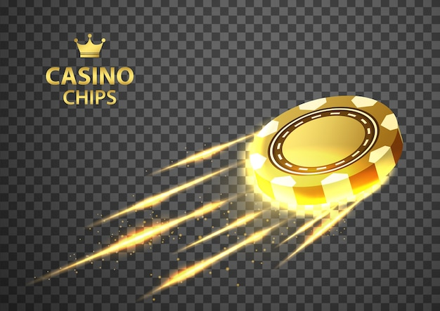 Gold casino poker chips flying on isolated transparent black .