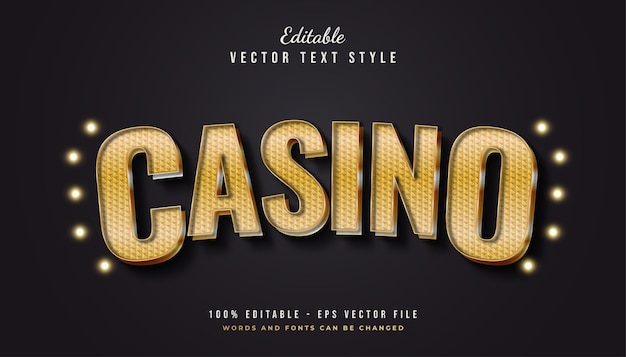 Gold casino text style with curved and textured effect