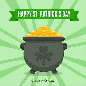 Gold cauldron st patrick's day background