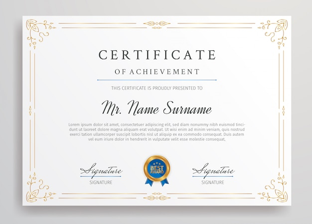 Gold certificate of achievement border template with blue badge a4 size