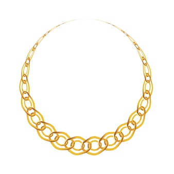 Gold chain jewelry isolated