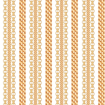 Gold chain jewelry seamless pattern.